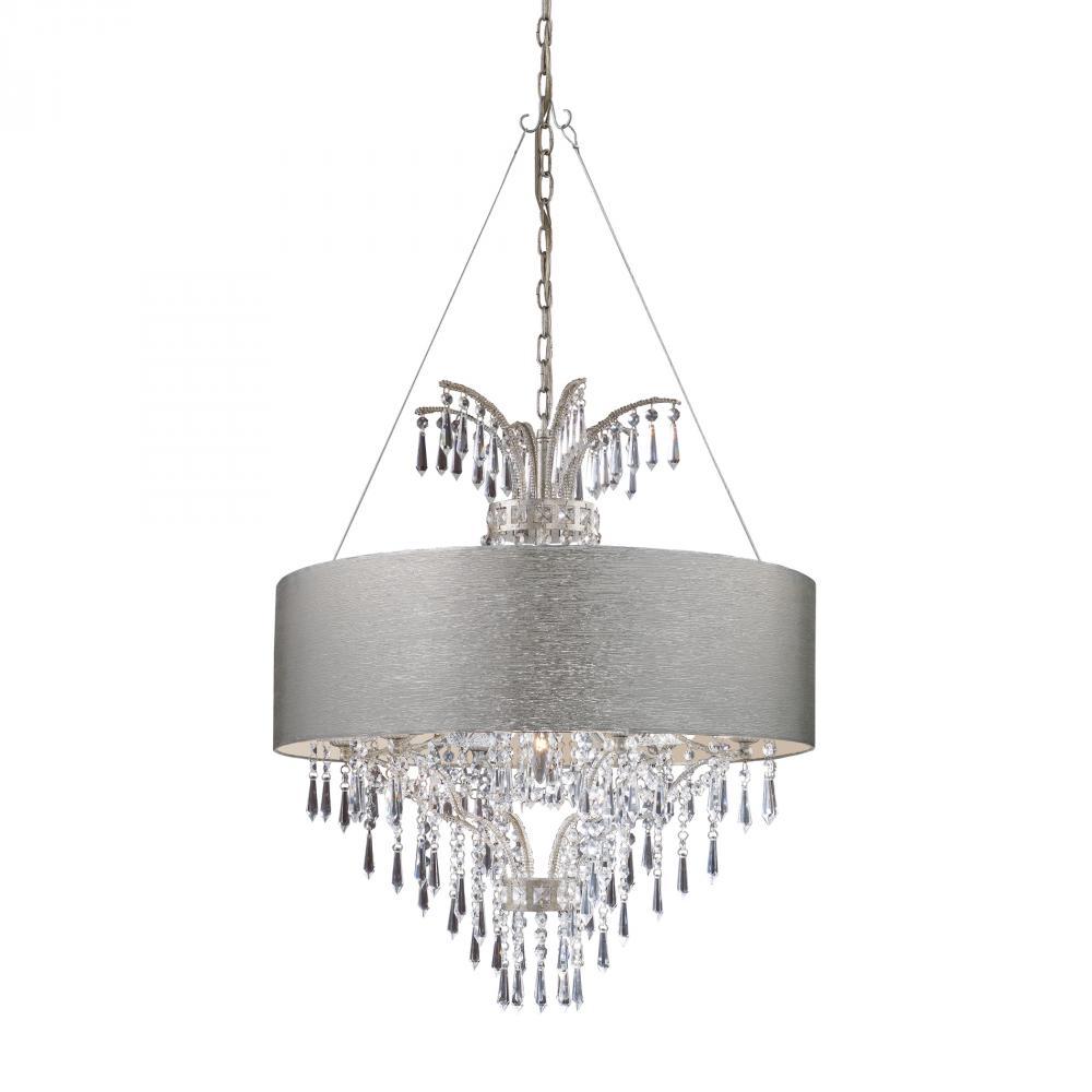 elk lighting 8vjm silver shade drum shade pendant