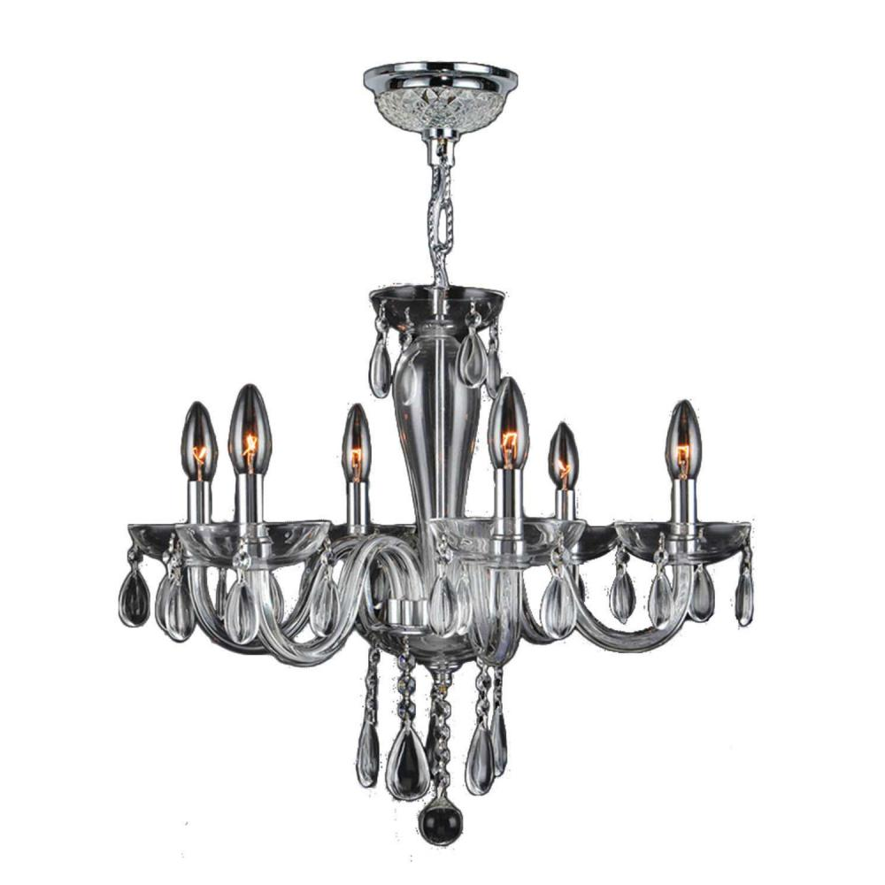 "Gatsby Collection 6 Light Chrome Finish and Clear Blown Glass Chandelier 22"" D x 19"" H Mediu"