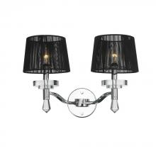 Worldwide Lighting Corp W23135C17 - Gatsby Collection 2 Light Arm Chrome Finish and Clear Crystal Wall Sconce with Black String Shade 17
