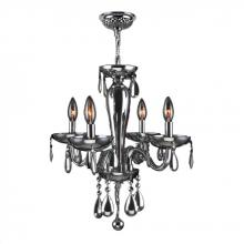 "Worldwide Lighting Corp W83126C16-CH - Gatsby Collection 4 Light Chrome Finish and Chrome Blown Glass Chandelier 16"" D x 18"" H Mini"