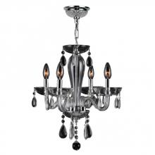 "Worldwide Lighting Corp W83126C16-CL - Gatsby Collection 4 Light Chrome Finish and Clear Blown Glass Chandelier 16"" D x 18"" H Mini"