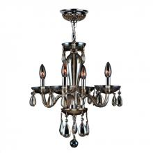 "Worldwide Lighting Corp W83126C16-GT - Gatsby Collection 4 Light Chrome Finish and Golden Teak Blown Glass Chandelier 16"" D x 18"" H"
