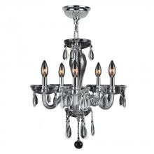 "Worldwide Lighting Corp W83127C16-CL - Gatsby Collection 5 Light Chrome Finish and Clear Blown Glass Chandelier 16"" D x 18"" H Mini"