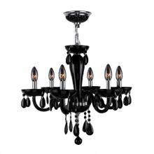 "Worldwide Lighting Corp W83128C22-BL - Gatsby Collection 6 Light Chrome Finish and Black Blown Glass Chandelier 22"" D x 19"" H Mediu"