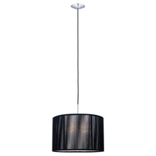 Eglo 20102A - 1 x 100W Pendant w/ Chrome Finish & Black Fabric Shade