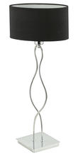 Eglo 20106A - 1 x 40W Table Lamp w/ Chrome Finish & Black Fabric Shade