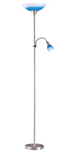 Eglo 86656S - 1x100W, 1x40W Floor Lamp w/ Matte Nickel Finish & Blue & White  Glass