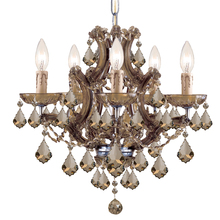 Crystorama 4405-AB-GT-MWP - Maria Theresa 6 Light Golden Teak Crystal Brass Mini Chandelier