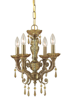 Crystorama 5174-AG-GTS - Crystorama Regal 4 Light Golden Teak Swarovski Strass Brass Crystal Mini Chandelier