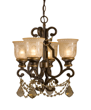 Crystorama 7504-BU-GTS - Norwalk 4 Light Golden Teak Swarovski Strass Crystal Bronze Mini Chandelier