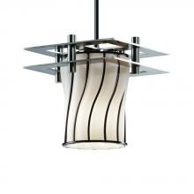 Justice Design Group WGL-8165-10-SWOP-NCKL-BKCD - Metropolis 1-Light Small Pendant (2 Flat Bars)