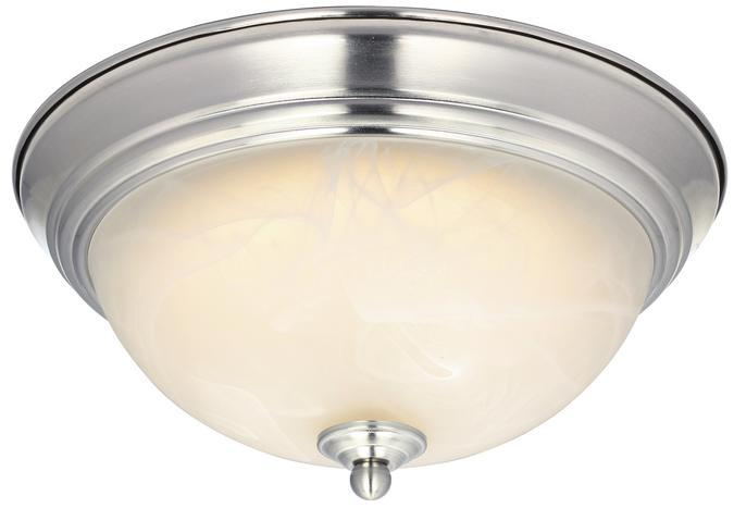 "11"" LED Flush Brushed Nickel Finish with White Alabaster Glass"