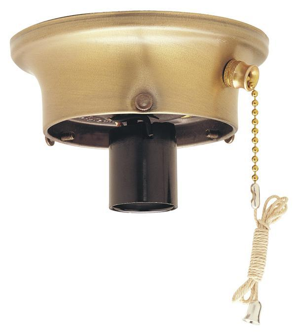 "3-1/4"" Antique Brass Finish Glass Shade Holder Kit with On/Off Pull Chain Switch"
