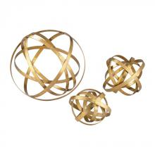 Sterling Industries 51-005/S3 - Open Structure Metal Orbs In Gold - Set of 3