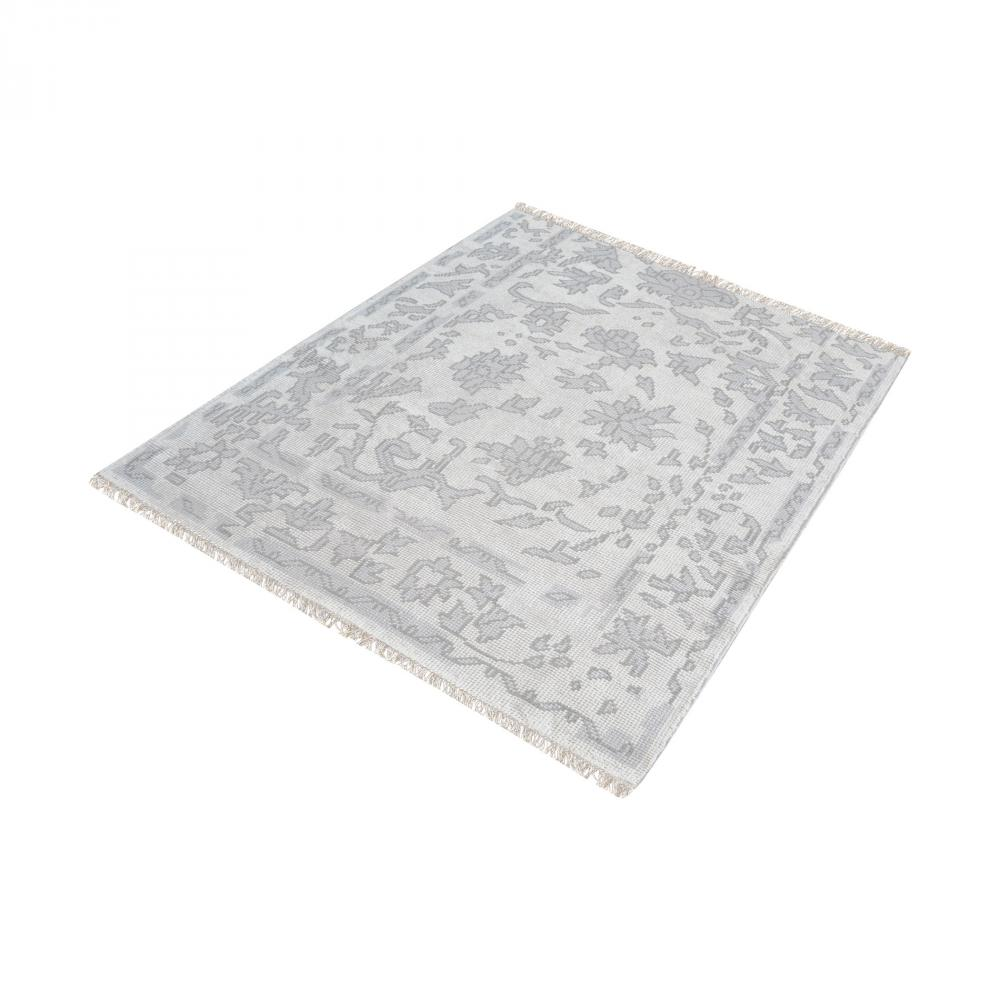 Harappa Handknotted Wool Rug In Silver And Ivory