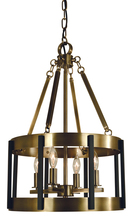 Framburg 4664 AB/MBLACK - 4-Light Antique Brass/Matte Black Pantheon Pendant