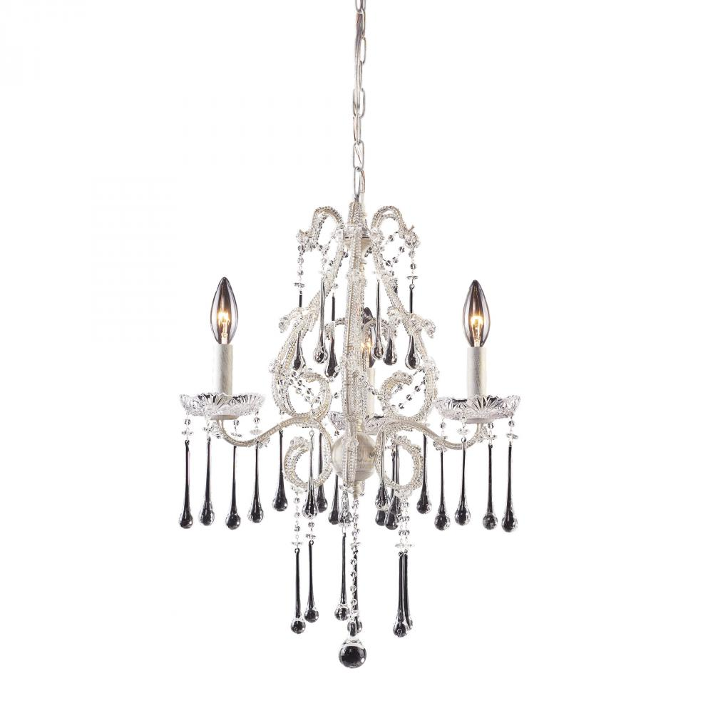 Three Light Antique White Up Chandelier