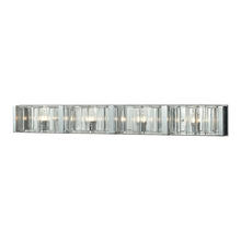ELK Lighting 11518/4 - Corrugated Glass 4-Light Vanity Sconce in Polished Chrome with Clear Glass