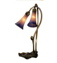 "Meyda Tiffany 14064 - 16""H Pink/Blue Pond Lily 2 Lt Accent Lamp"